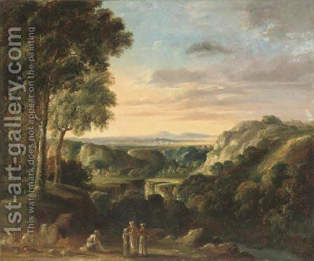 Travellers resting beside a gorge by (after) Jan Frans Van Orizzonte (see Bloemen) - Reproduction Oil Painting