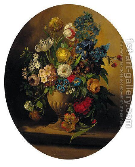 Summer flowers in an urn on a ledge; and Summer flowers in a glass vase on a ledge by (after) Jan Frans Van Dael - Reproduction Oil Painting