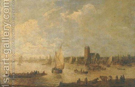 A river landscape with shipping and fishermen in rowing boats and cattle grazing in the foreground, a city beyond by (after)  Jan Van Goyen - Reproduction Oil Painting