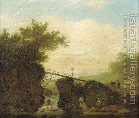 A landscape with a bridge over a waterfall and figures on a path by (after) Jan Looten - Reproduction Oil Painting