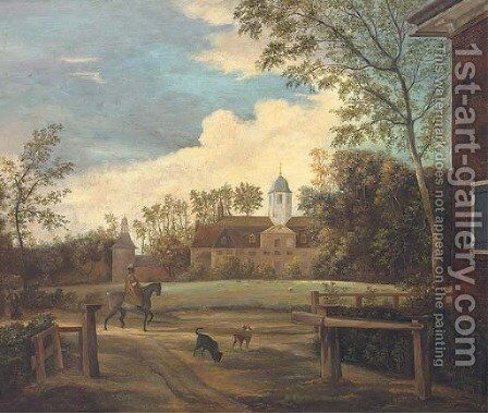 An elegant traveller and two dogs before a country house by (after) Jan Van Der Heyden - Reproduction Oil Painting