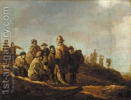 Peasants resting on a sand-dune by (after) Jan Van Goyen - Reproduction Oil Painting