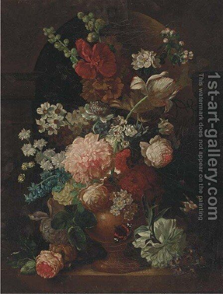 A parott tulip, roses, morning glory and other flowers in an urn in a niche, with a butterfly by (after) Huysum, Jan van - Reproduction Oil Painting