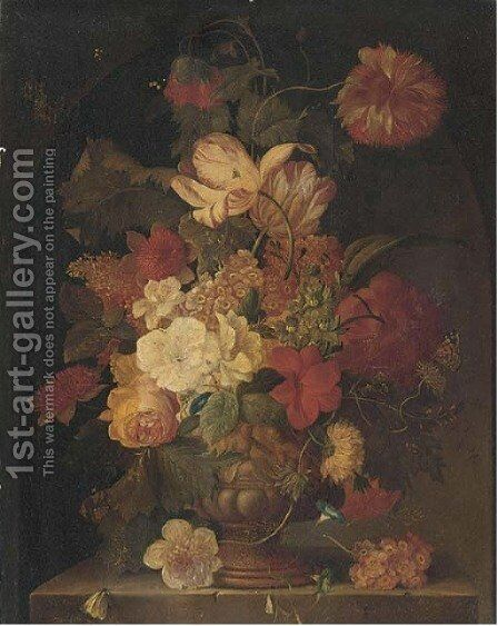 Flowers in vase on a stone ledge by (after) Huysum, Jan van - Reproduction Oil Painting
