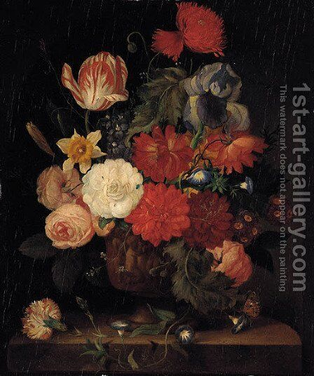 Roses, carnations, morning glories, tulips and other flowers in a vase on a ledge in a niche by (after) Huysum, Jan van - Reproduction Oil Painting