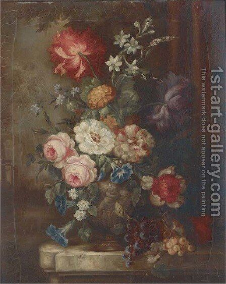 Roses, petunias, dahlias, campanulae and other summer flowers in an ornamental urn with bunches of grapes on a garden plinth by (after) Huysum, Jan van - Reproduction Oil Painting