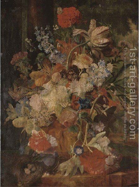 Tulips, morning glory, and other flowers in a sculpted urn with a birds nest on a ledge, figures in a garden beyond by (after) Huysum, Jan van - Reproduction Oil Painting