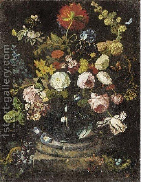 Roses, carnations and other flowers in a glass vase on a plinth by (after) Huysum, Jan van - Reproduction Oil Painting