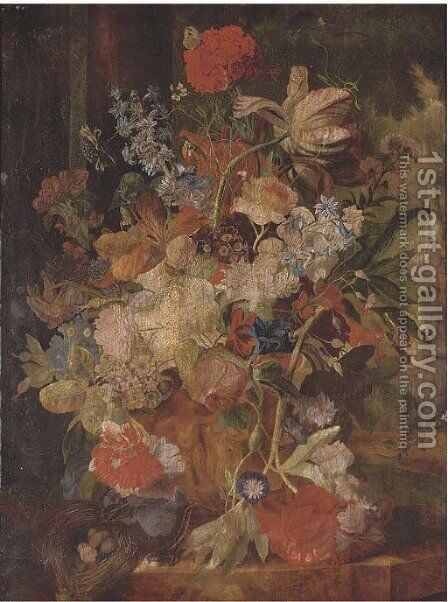 Tulips, morning glory, and other flowers in a sculpted urn with a birds nest on a ledge, figures in a garden beyond 2 by (after) Huysum, Jan van - Reproduction Oil Painting