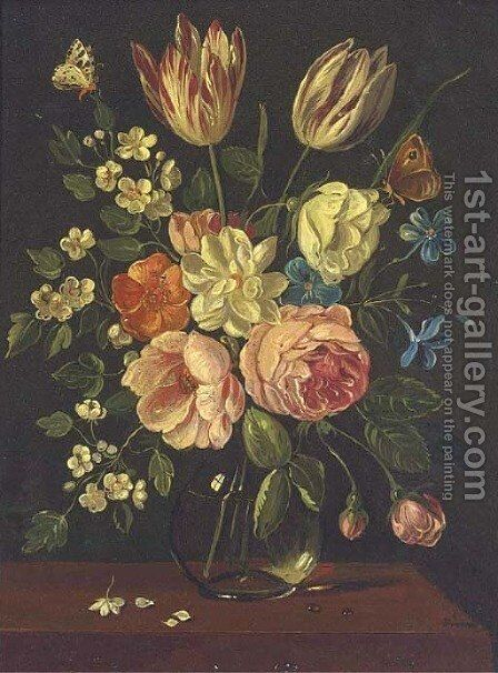 A parrot tulip, roses and other mixed flowers in a glass vase on a ledge with a butterfly by Jan van Kessel - Reproduction Oil Painting