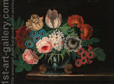 Summer flowers in a vase on a ledge by Jan van Kessel - Reproduction Oil Painting