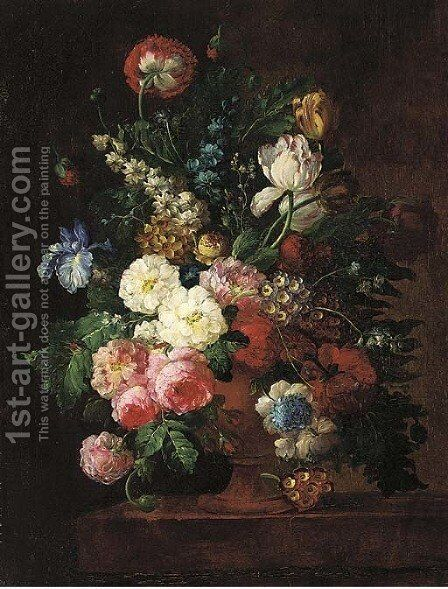 Roses, irises, tulips, and other flowers in a stone urn on a ledge by (after) Jan Van Os - Reproduction Oil Painting