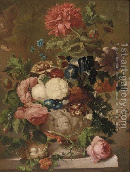 Roses, carnations and other flowers in a sculpted vase on a ledge with a bird's nest by (after) Jan Van Os - Reproduction Oil Painting