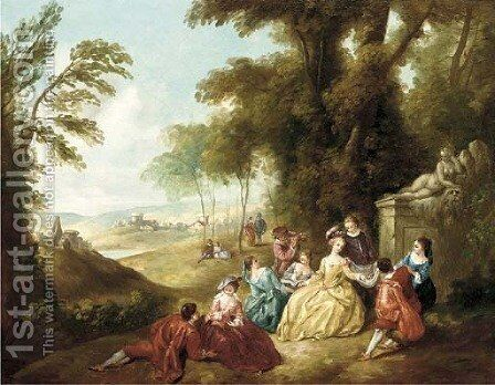 Fete Champetre by Jean-Antoine Watteau - Reproduction Oil Painting