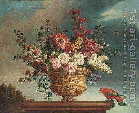 Summer flowers in a vase on a plinth, with a parrot and butterfly to the side; and Another similar by Jean-Baptiste Monnoyer - Reproduction Oil Painting
