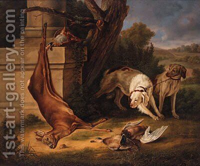 Hunting Dogs with Game in a Landscape by Jean-Baptiste Oudry - Reproduction Oil Painting