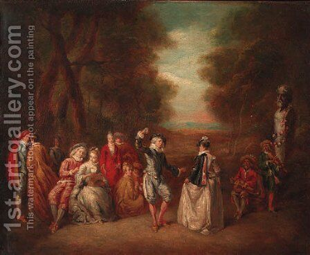 A fte champtre in a landscape by Jean-Baptiste Joseph Pater - Reproduction Oil Painting