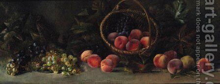 Peaches, Grapes And A Basket On A Table by (after) Jean Robbe - Reproduction Oil Painting