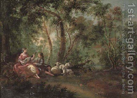 A wooded river landscape with a shepherd and shepherdess making music by Jean-Antoine Watteau - Reproduction Oil Painting