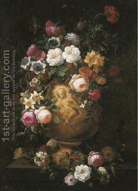 Roses, poppies and other flowers in a sculpted vase on a pedestal by (after) Jean-Baptiste Monnoyer - Reproduction Oil Painting