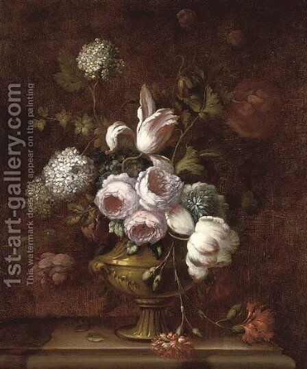 Roses, tulips, carnations, morning glory and other flowers in an urn on a ledge by (after) Jean-Baptiste Monnoyer - Reproduction Oil Painting