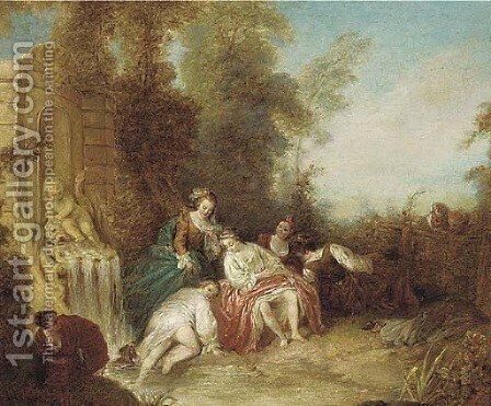 Ladies bathing at a fountain with onlookers by a fence by Jean-Baptiste Joseph Pater - Reproduction Oil Painting