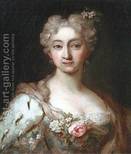 Portrait of an elegant lady, bust-length, in a dress set with lace and flowers with an ermine wrap and flowers in her hair by (after) Jean-Marc Nattier - Reproduction Oil Painting