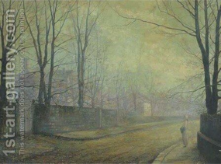 A moonlit street by (after) John Atkinson Grimshaw - Reproduction Oil Painting
