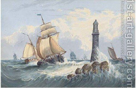 Traders and other vessels off the Eddystone Lighthouse by (after) John Callow - Reproduction Oil Painting