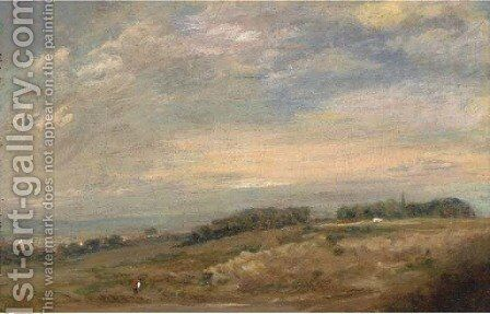 An extensive landscape with a figure in the foreground, traditionally identified as Sandpits near Dedham by (after) Constable, John - Reproduction Oil Painting