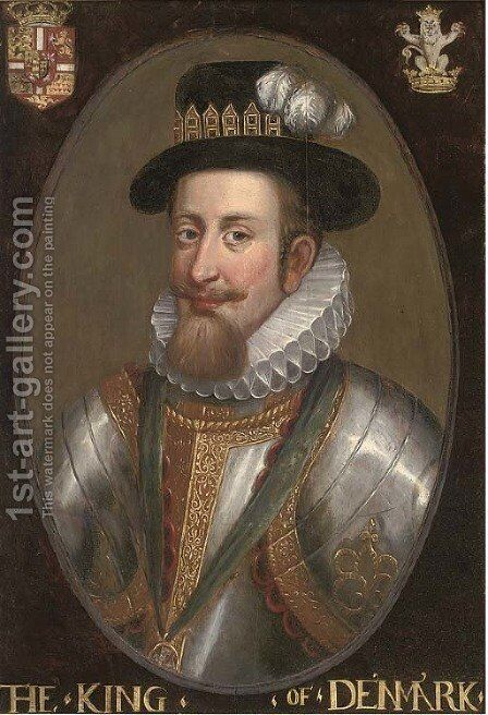 Portrait of a nobleman, bust-length, in armour and white ruff, with a jewelled hat by (after) John De Critz - Reproduction Oil Painting