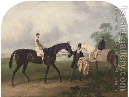 Portrait of a jockey up, on a bay racehorse, held by its owner, a groom on a bay beyond, in a paddock by (after) John Frederick Herring - Reproduction Oil Painting