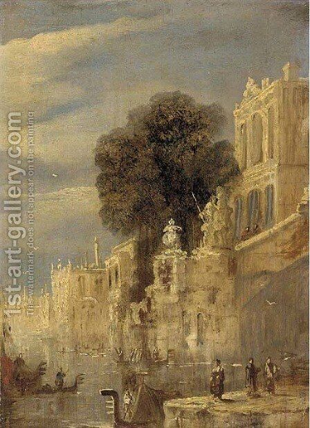 Palazzos on a Venetian backwater by (after) Joseph Mallord William Turner - Reproduction Oil Painting