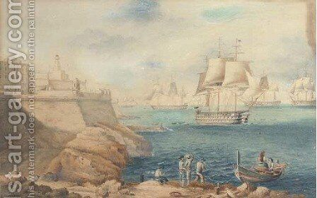 A squadron of warships off the entrance to Grand Harbour, Valetta by (after) Joseph Schranz - Reproduction Oil Painting