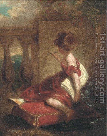 The young sketcher by Sir Joshua Reynolds - Reproduction Oil Painting