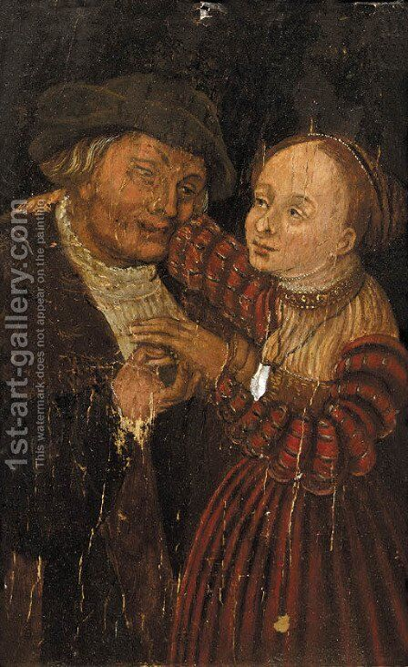 Ill-matched lovers by (after) Lucas The Younger Cranach - Reproduction Oil Painting