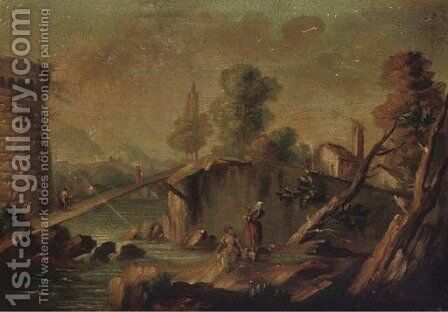 Washerwomen near a bridge, a fortress beyond by (after) Marco Ricci - Reproduction Oil Painting