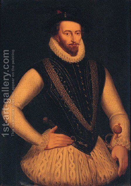 Portrait of Sir Walter Raleigh by (after) Marcus The Younger Gheeraerts - Reproduction Oil Painting