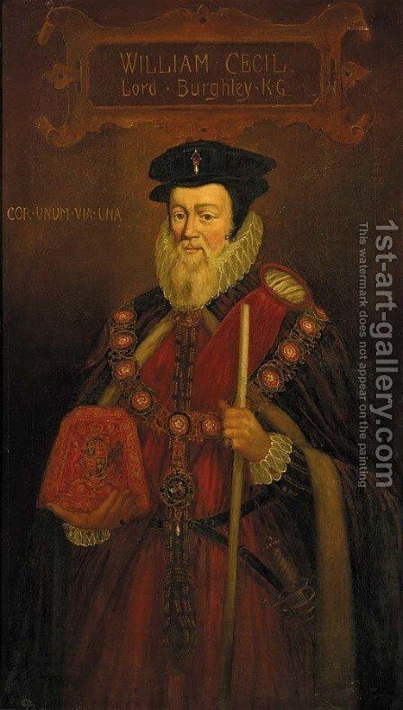 Portrait of William Cecil (1520-1598), 1st Baron Burghley 2 by (after) Marcus The Younger Gheeraerts - Reproduction Oil Painting