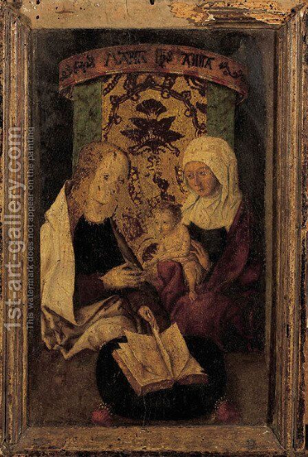 The Madonna and Child with Saint Anne by Martin Schongauer - Reproduction Oil Painting
