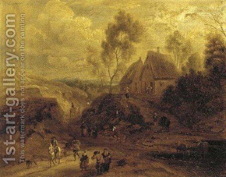A landscape with figures on a track, a house in the distance by (after) Mathys Schoevaerdts - Reproduction Oil Painting