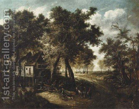 A wooded landscape with travellers approaching a watermill by (after) Meindert Hobbema - Reproduction Oil Painting