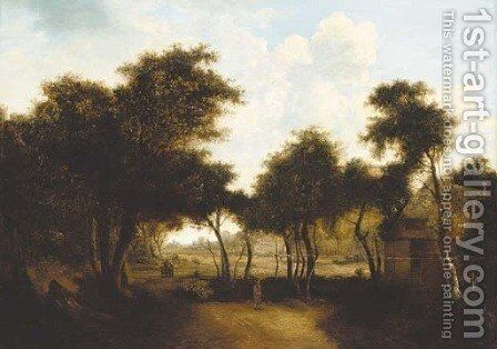 Figures by a woodland cottage by (after) Meindert Hobbema - Reproduction Oil Painting