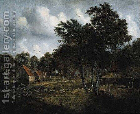 Peasants on a track by a watermill in a wooded landscape by (after) Meindert Hobbema - Reproduction Oil Painting
