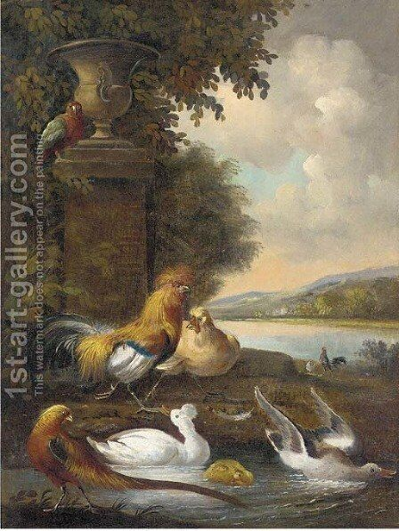 Cockerels, a hen, ducks, a pheasant, and a parakeet, in a river landscape by (after) Melchior De Hondecoeter - Reproduction Oil Painting