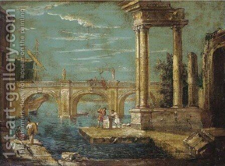 A capriccio of classical ruins and a bridge by a harbour by (after) Michele Marieschi - Reproduction Oil Painting