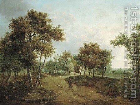 A wooded landscape with a cottage and figures on a path by Meindert Hobbema - Reproduction Oil Painting