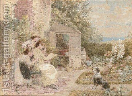 The quizzical dog by Myles Birket Foster - Reproduction Oil Painting