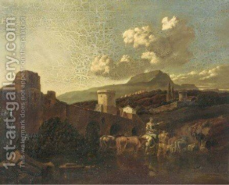 An Italianate landscape with drovers and their cattle fording a river by (after) Nicolaes Berchem - Reproduction Oil Painting