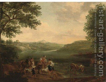 An Italianate landscape with peasants and their cattle fording a river by (after) Nicolaes Berchem - Reproduction Oil Painting